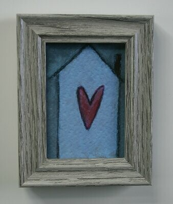 """home is where the heart is artwork 2.5x3.5"""" a2n2koon giclee print framed in gray wood stand-up frame miniature home art comes in gift box"""