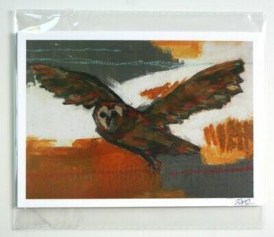 "flying owl bird print limited edition 5x7"" a2n2koon giclee in resealable sleeve fits standard 5x7"" frame bird in flight art print autumn art"