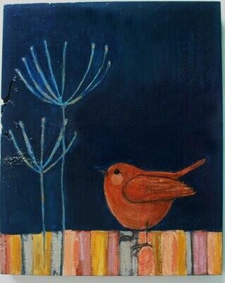 brown wren bird & twigs painting original a2n2koon textured wall art on reclaimed wood cute bird twigs blue peach rose yellow gold artwork