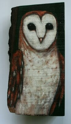 owl wood sculpture painting original a2n2koon barn owl bird wall art on reclaimed wood with tree bark sculpture textured rustic owl artwork