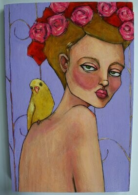 portrait of woman female girl with yellow parakeet bird original a2n2koon painting wall art on reclaimed wood nude female figure artwork