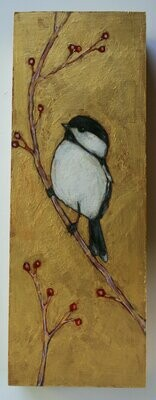 chickadee bird on branch with berries painting original a2n2koon wall art on reclaimed wood black capped chickadee bird winter berries gold