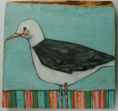 cute seagull gull bird painting original a2n2koon wall art beach house decor on textured reclaimed wood block seaside palette ocean artwork