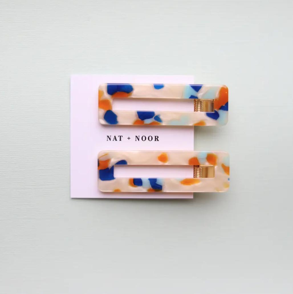 Orange + Blue Tortoise Hair Clip Set