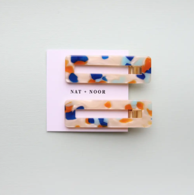 Orange + Blue Tortoise Hair Clip Set