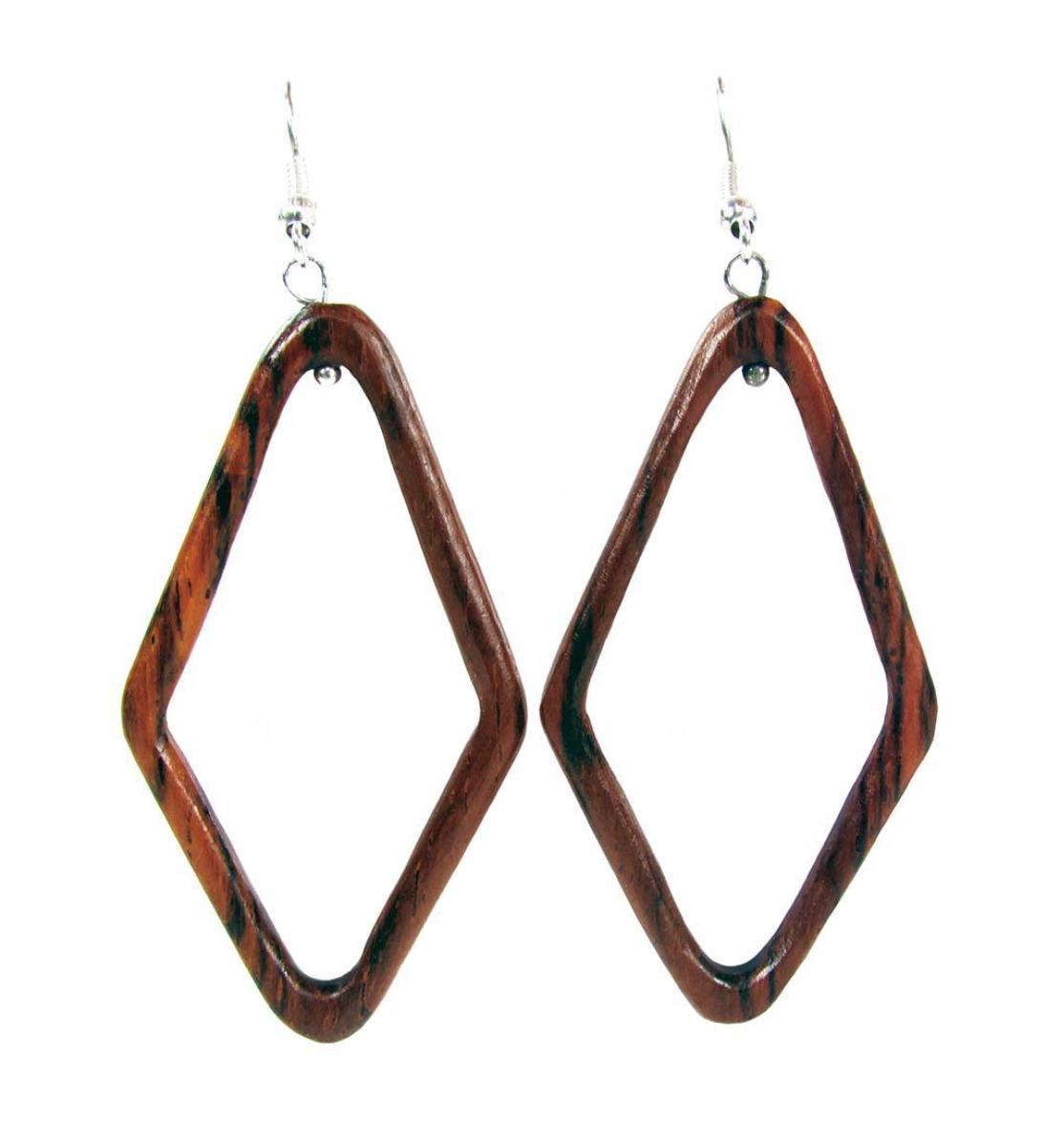 Wood Earring Diamond