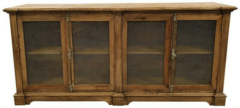 RECLAIMED ELM SIDEBOARD W/ CHICKENWIRE DOORS
