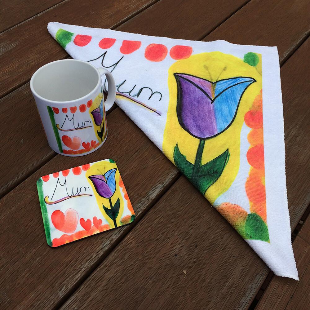Personalised Set - Mug Coaster and Towel