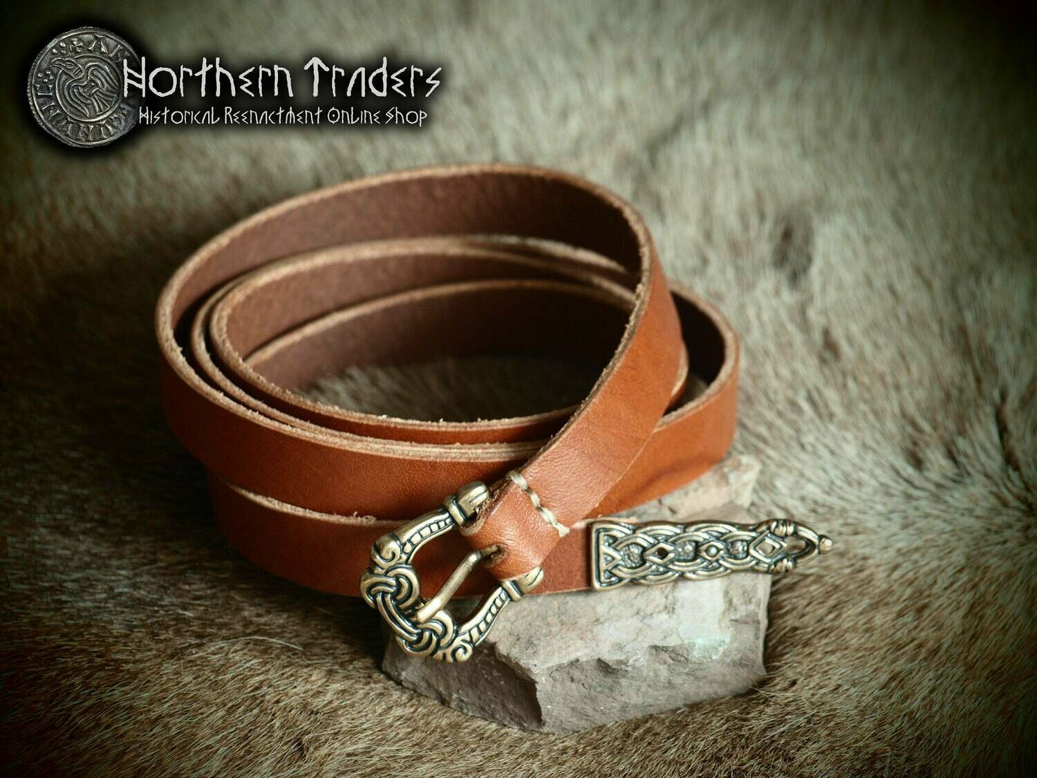 Viking Belt with Buckle and Belt End in Borre Style