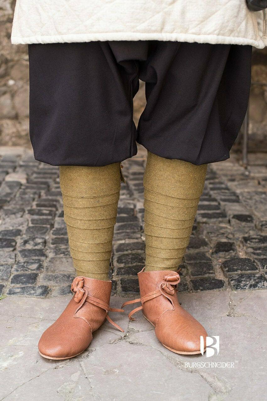 Medieval Leg Wraps - Wool Winingas - Olive Green