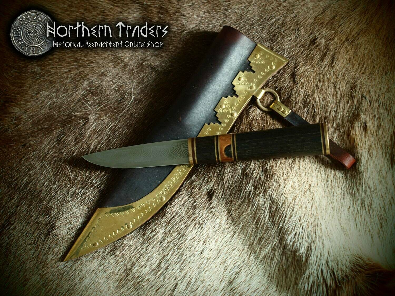 Viking Knife with pattern welded steel blade (damascus)