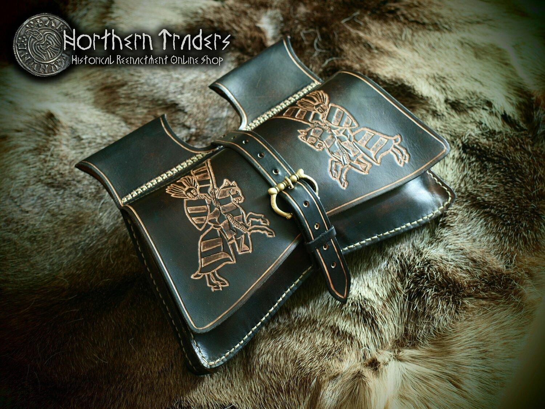 Medieval Tooled Leather Belt Bag