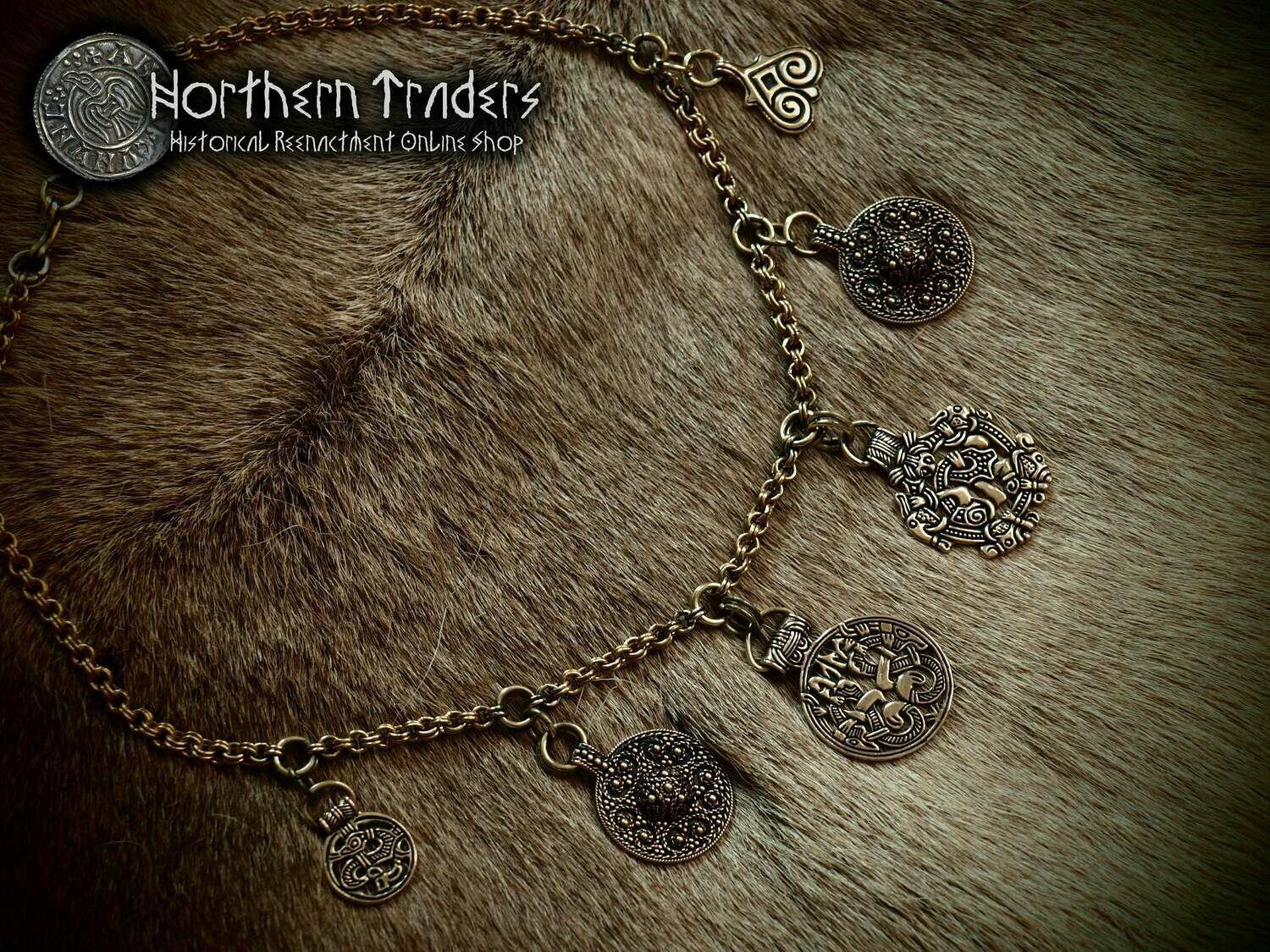 Viking necklace with amulets