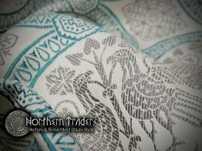 Brocade with Confronted Birds - Turquoise / Grey