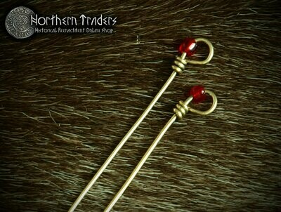 Brass Pins with Glass Beads