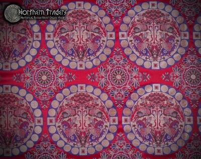 Oseberg Style Silk Brocade - Crimsom/Silver