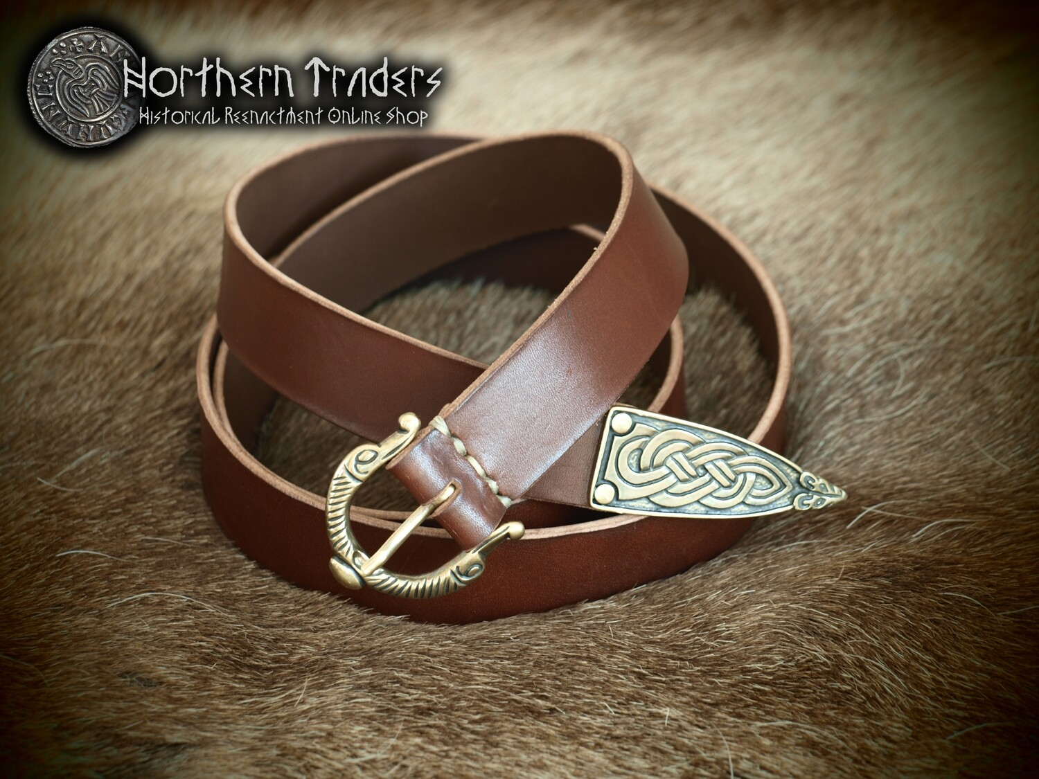 Viking Belt with Buckle and Belt End