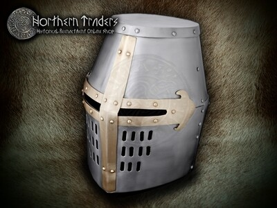 Crusader Great Helm with Brass Details