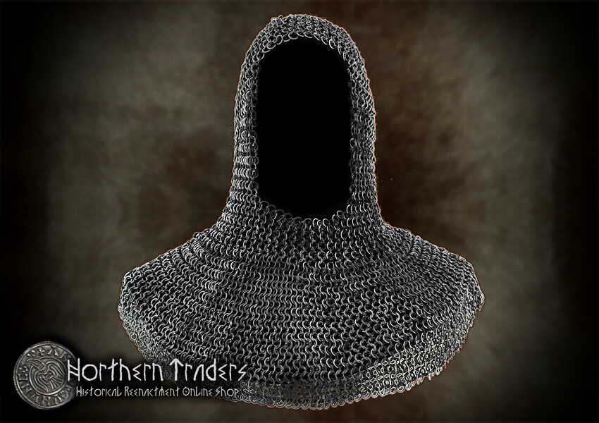 Mail Hood - 9mm ID - Riveted Flat Rings - Stainless Steel - Oil Finish