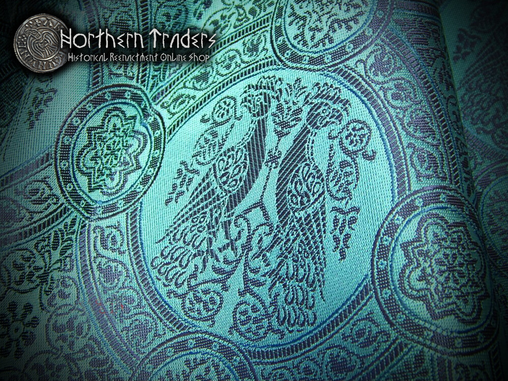 Brocade with Confronted Birds II - Turquoise / Blue