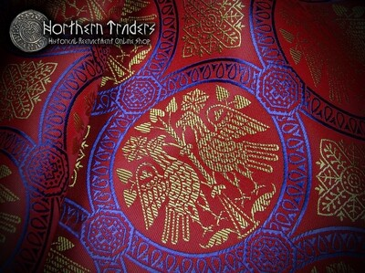 Brocade with Confronted Birds - Red / Blue / Gold