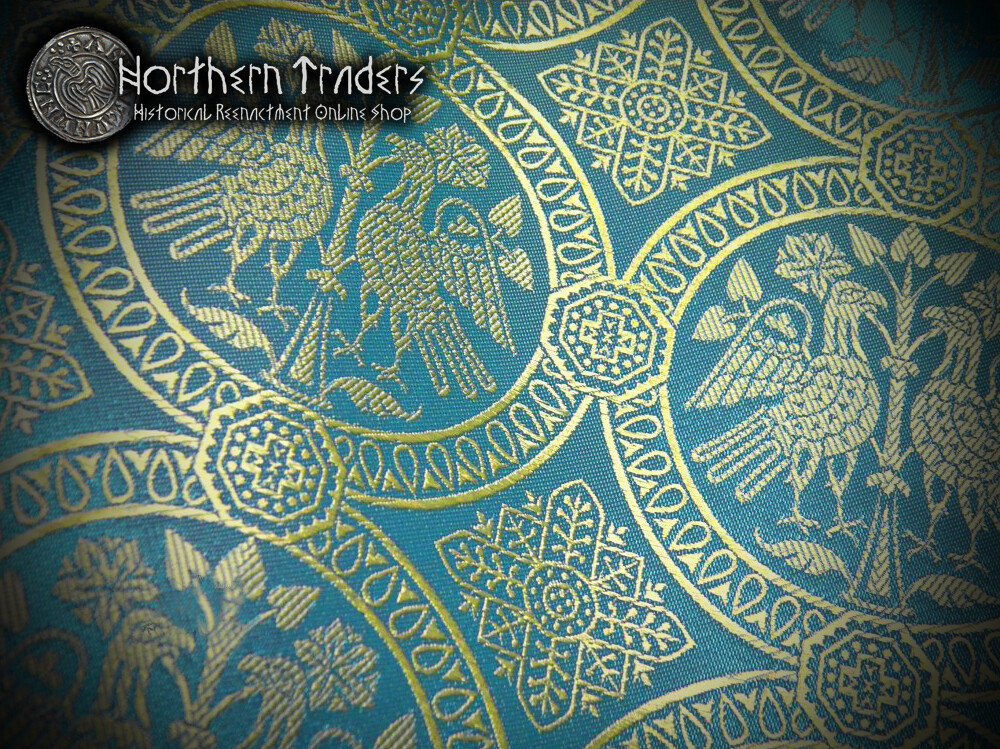 Brocade with Confronted Birds - Turquoise / Gold