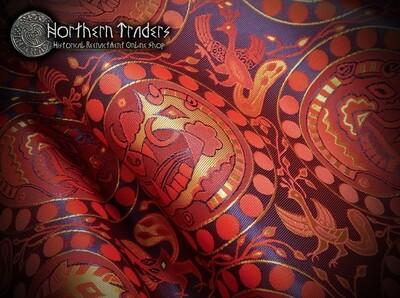 Brocade with Boar Heads - Red / Blue / Ocher
