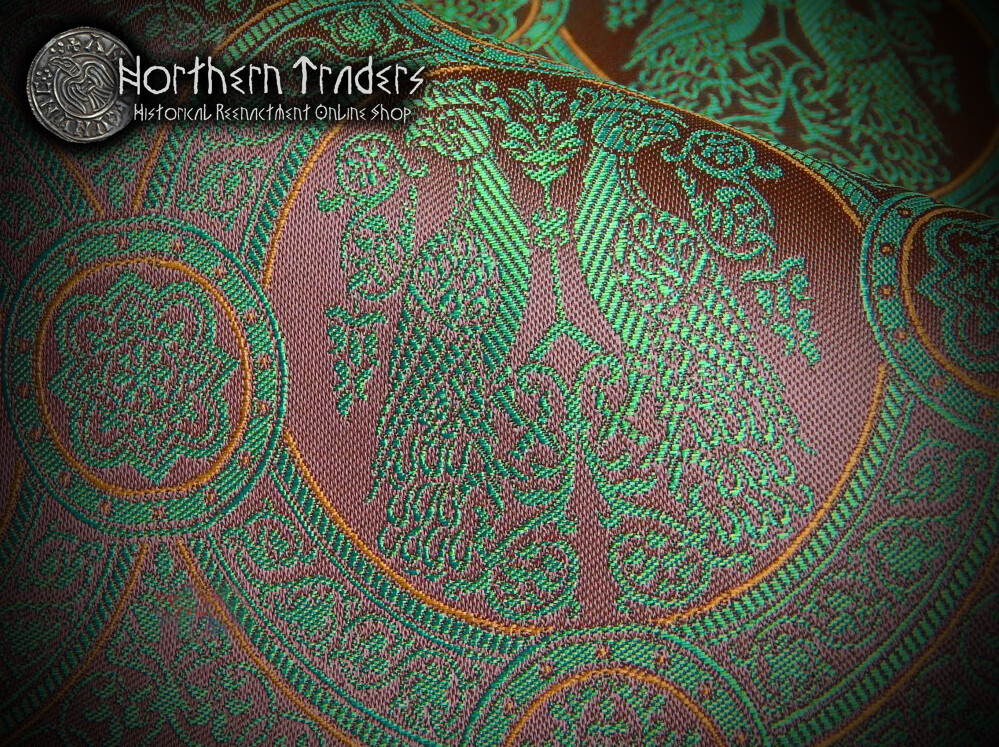 Brocade with Confronted Birds II - Green / Brown / Ochre