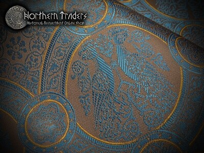 Brocade with Confronted Birds II - Brown / Turquoise / Ocher