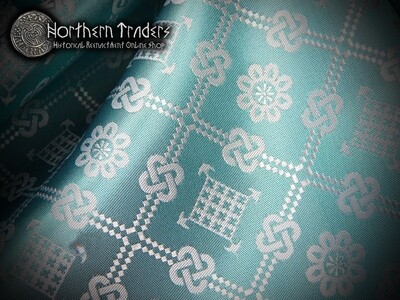 Brocade with Geometrical Pattern - Turquoise / White