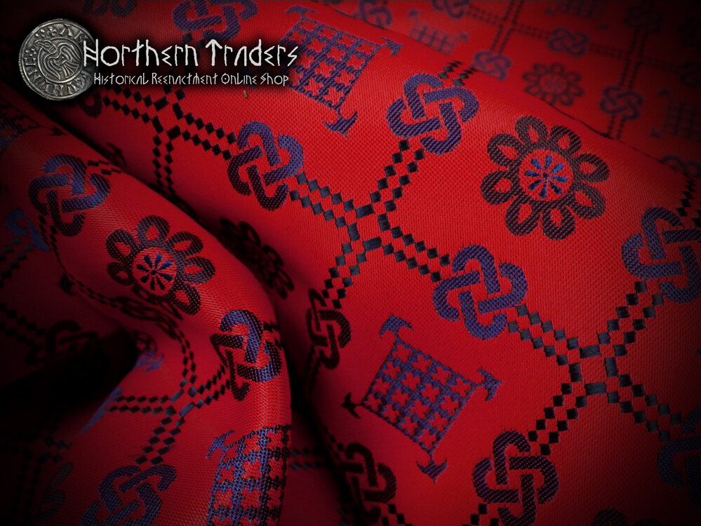 Brocade with Geometrical Pattern - Red / Blue