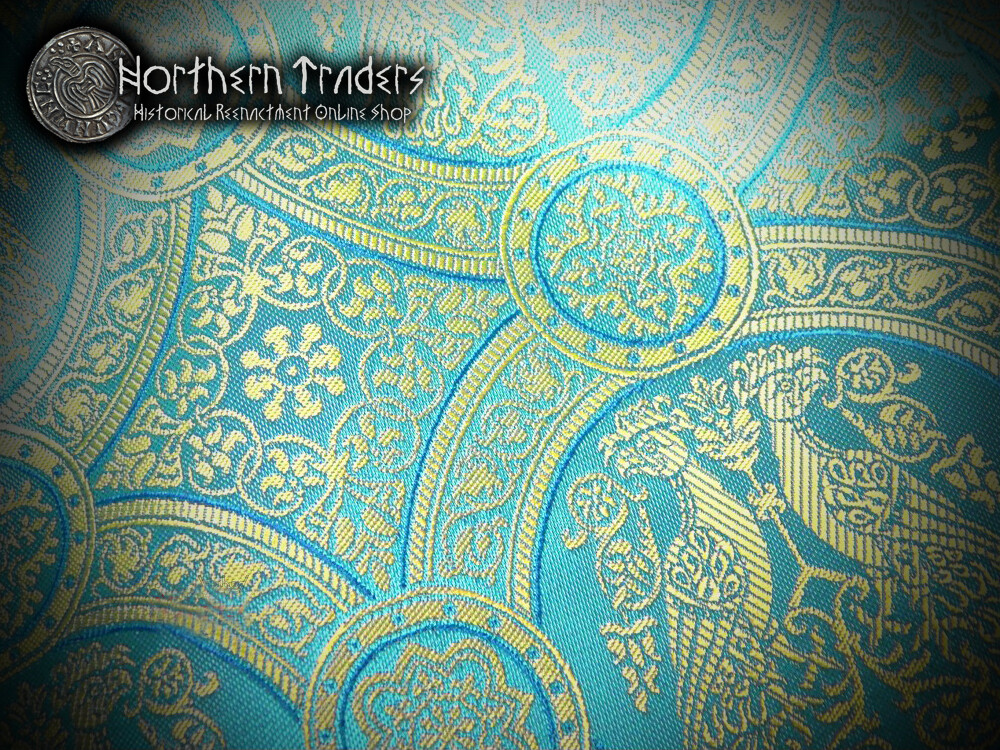 Brocade with Confronted Birds II - Turquoise / Ocher