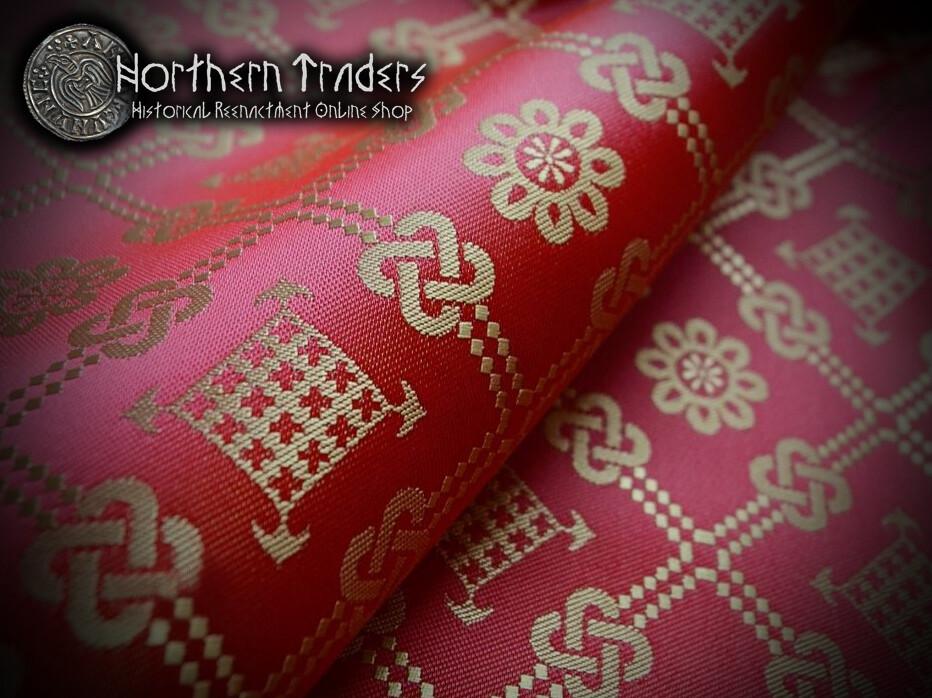 Brocade with Geometrical Pattern - Red / Ocher