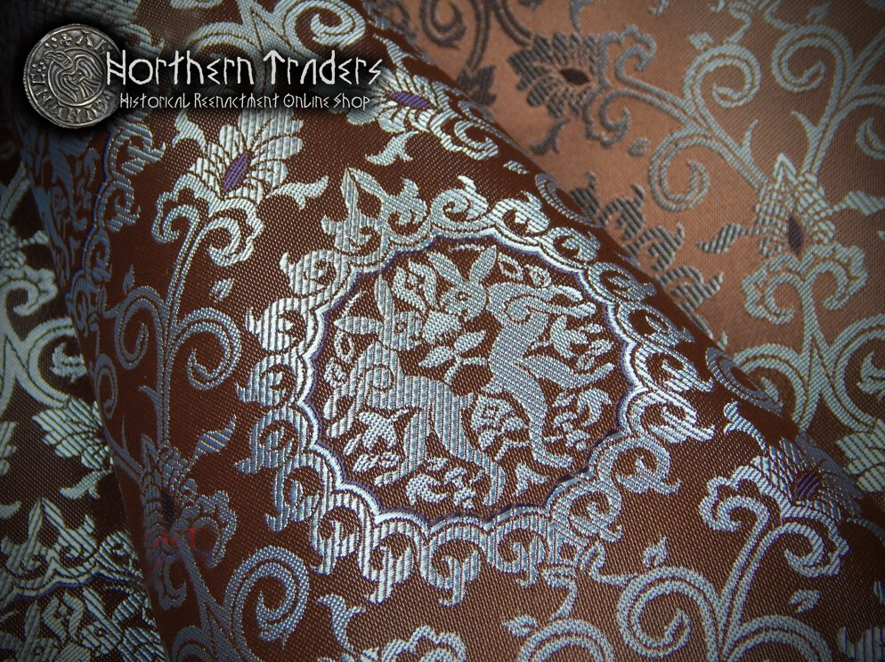 Brocade with Rabbits - Brown / Blue