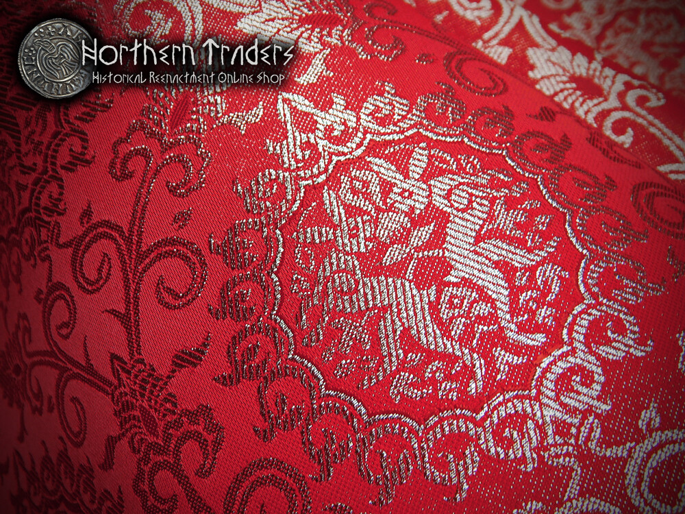 Brocade with Rabbits - Burgundy Red / Silver