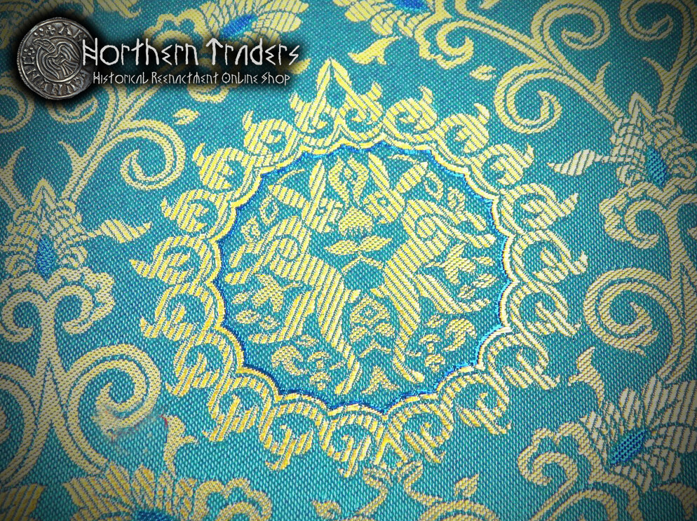 Brocade with Rabbits - Turquoise / Ocher