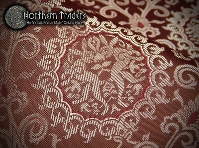 Brocade with Rabbits - Brown / Pink