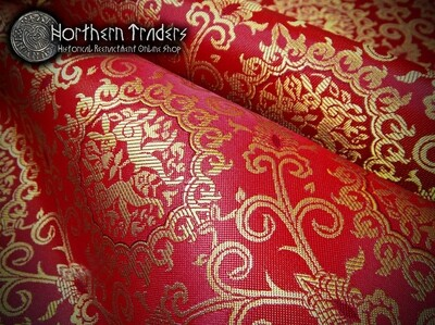 Brocade with Rabbits - Burgundy Red / Gold