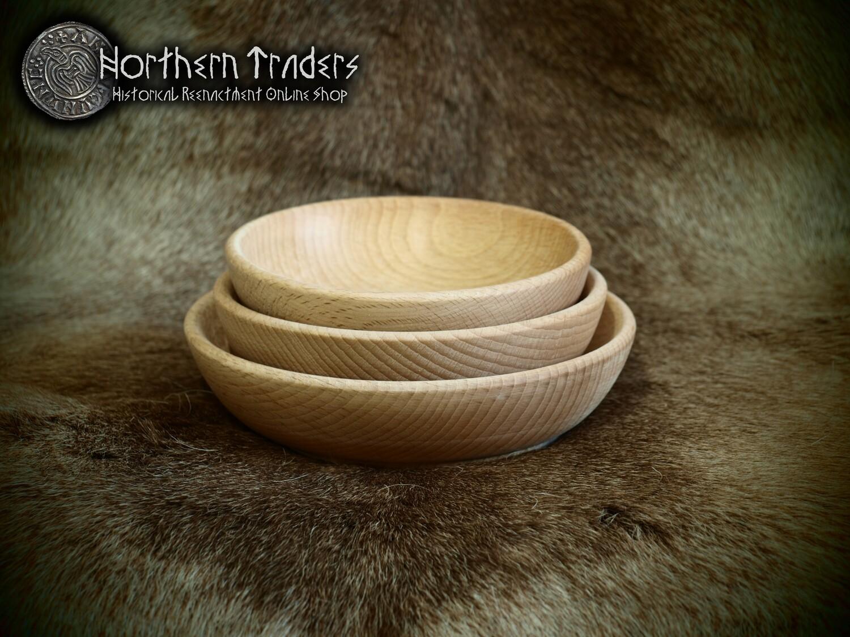 Set of 3 Medieval Wooden Bowls - Beech
