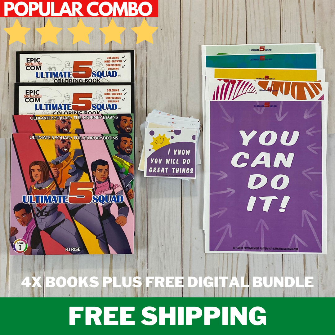 BEST SELLERS COMBO: 2 Action Books + 2 Coloring Books +  Empowerment Bundle