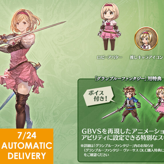 Versus DLC Promotion Code - Djeeta - Voiced MC Skin Auto Delivery