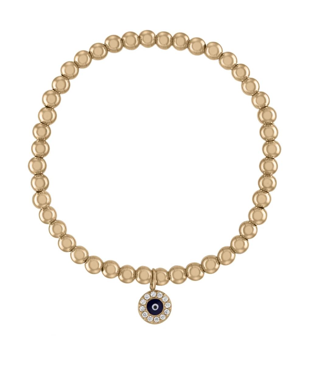 Evil Eye Gold Ball Bracelet