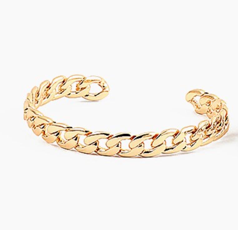Gold Cuban Link Chain Cuff