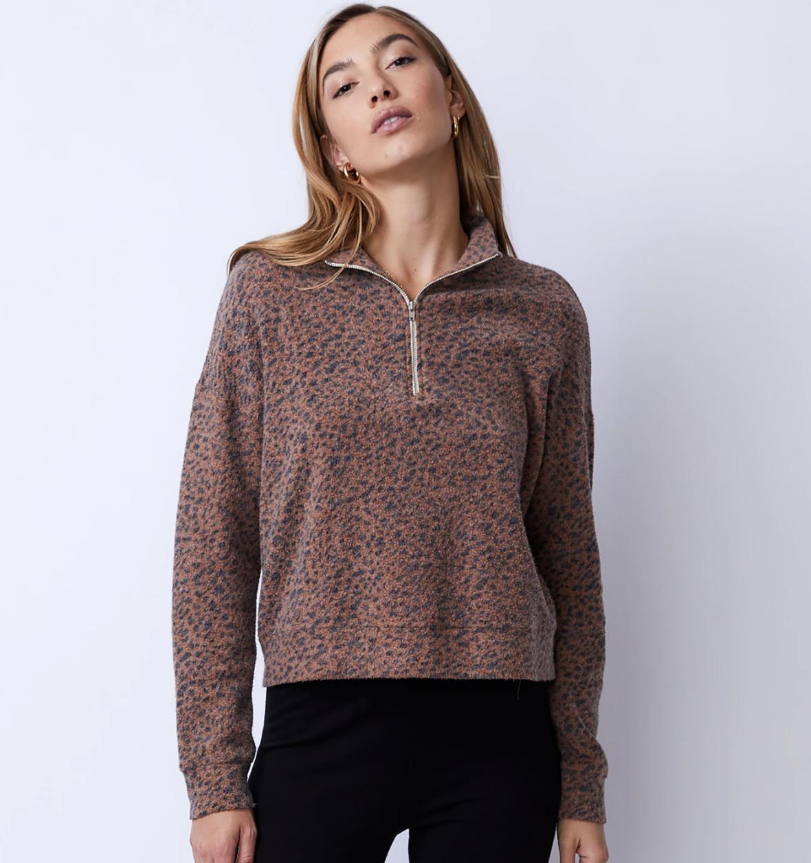 Mini Leopard Half-Zip Pullover