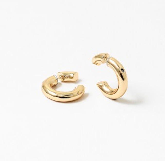 Gold Front and Back Hoops
