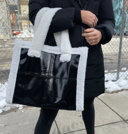 Patent and Shearling Tote