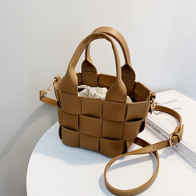 Woven Vegan Leather Tote with Crossbody Strap