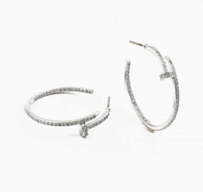 Crystal Nail Hoops