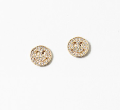 Gold Smiley Studs