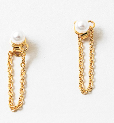 Pearl and Chain Gold Earrings